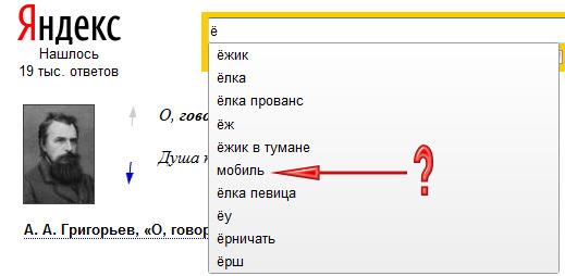 Буква ё и Яндекс